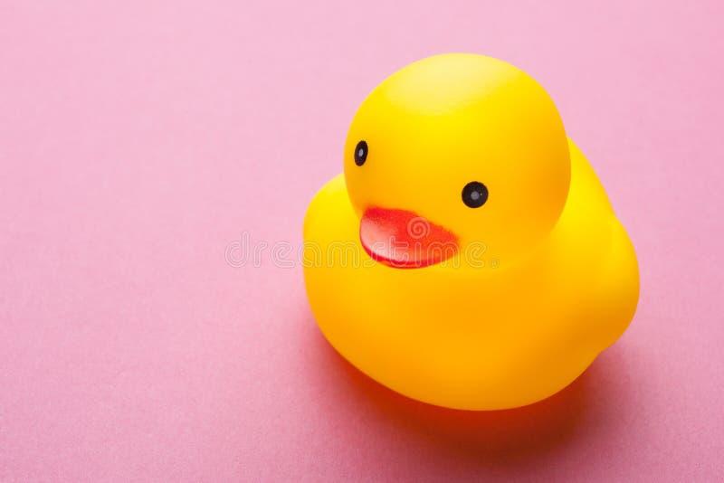 Pato de goma del pequeño juguete aislado en rosa imagenes de archivo