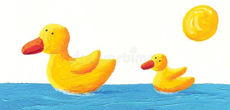Pato de la madre y del bebé stock de ilustración