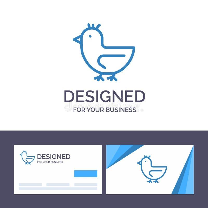 Pato de visita de la plantilla creativa de la tarjeta y del logotipo, ganso, cisne, ejemplo del vector de la primavera ilustración del vector