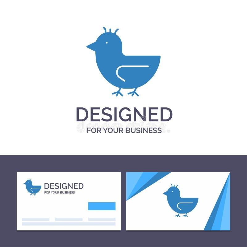 Pato de visita de la plantilla creativa de la tarjeta y del logotipo, ganso, cisne, ejemplo del vector de la primavera libre illustration