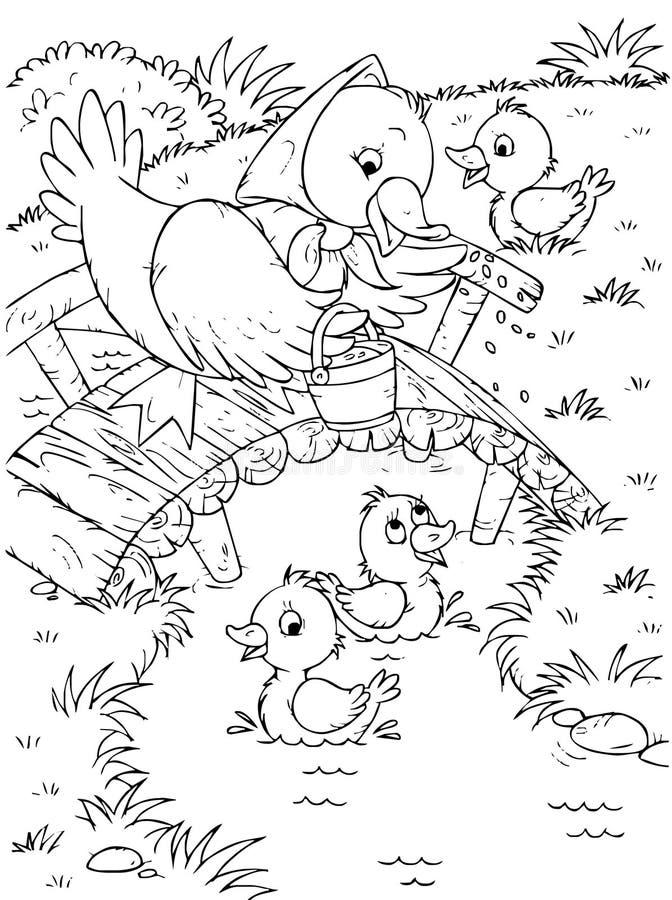 Pato e patinhos ilustração do vetor
