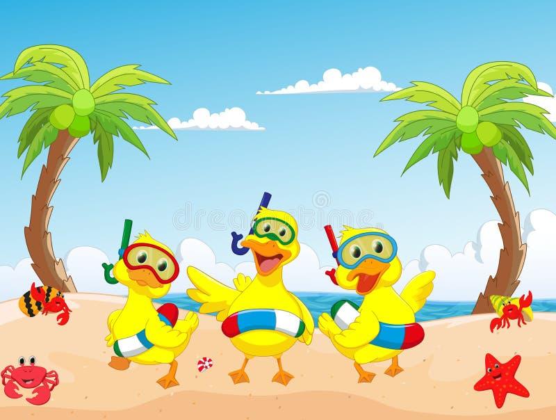Pato feliz de três desenhos animados no verão da praia ilustração do vetor