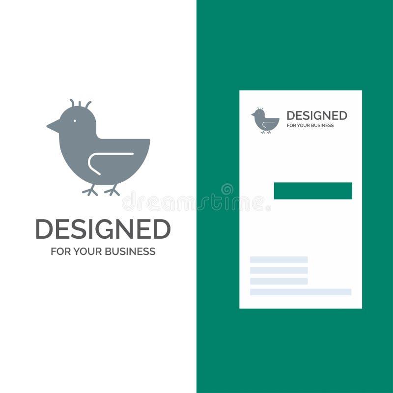 Pato, ganso, cisne, primavera Grey Logo Design y plantilla de la tarjeta de visita stock de ilustración