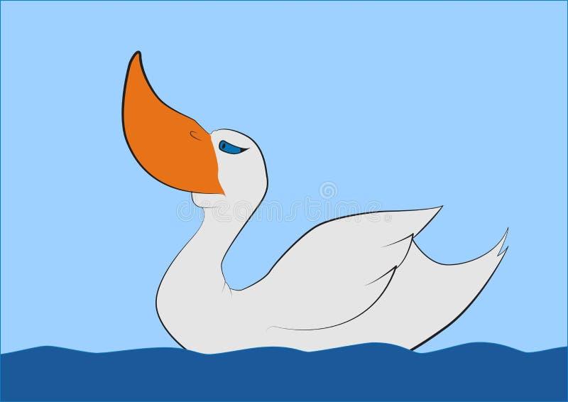 Pato grande nadador do bico, gráficos de vetor do t-shirt ilustração royalty free