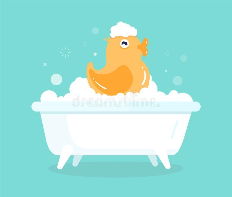 Pato lindo del amarillo de la historieta en baño con las burbujas jabonosas Juguete de goma que disfruta de tiempo de la higiene  ilustración del vector