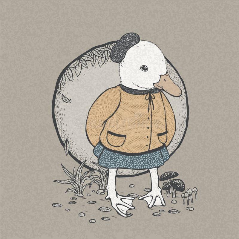 Pato lindo dibujado mano del estilo retro ilustración del vector