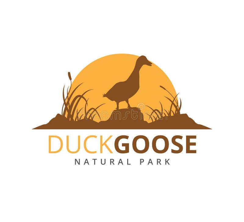 pato o ganso con el ejemplo del logotipo del vector de la sabana de la hierba stock de ilustración