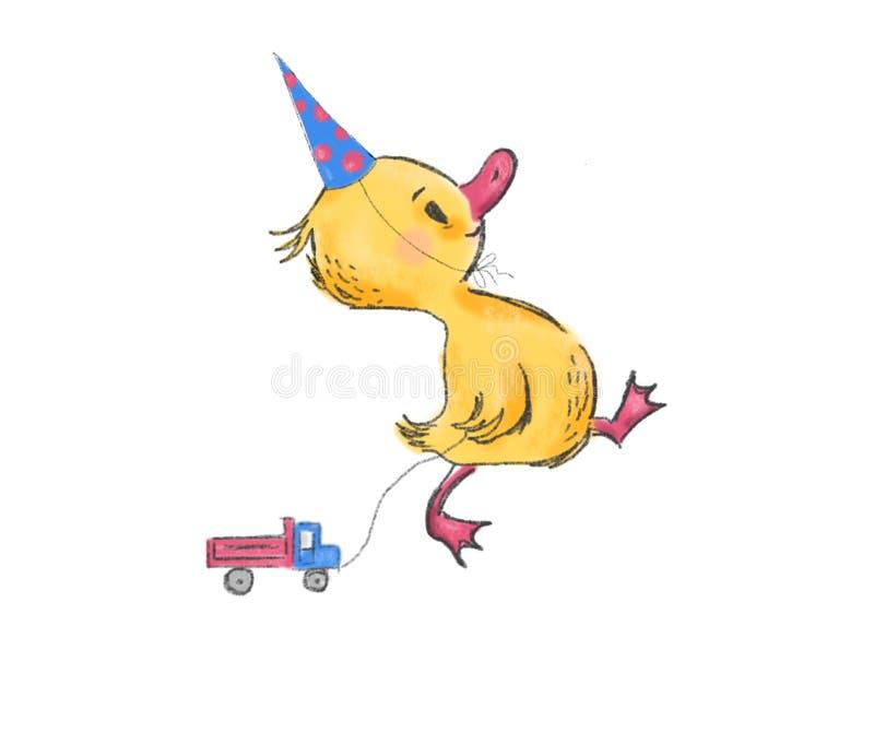 Pato pequeno bonito com máquina atual, caráter, cartão, bandeira, cartaz, ilustração foto de stock royalty free