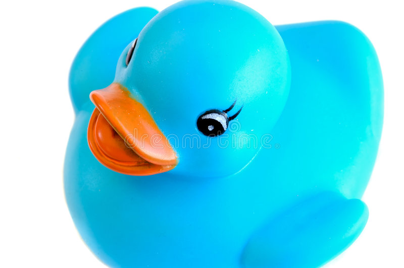 Pato plástico azul fotografia de stock