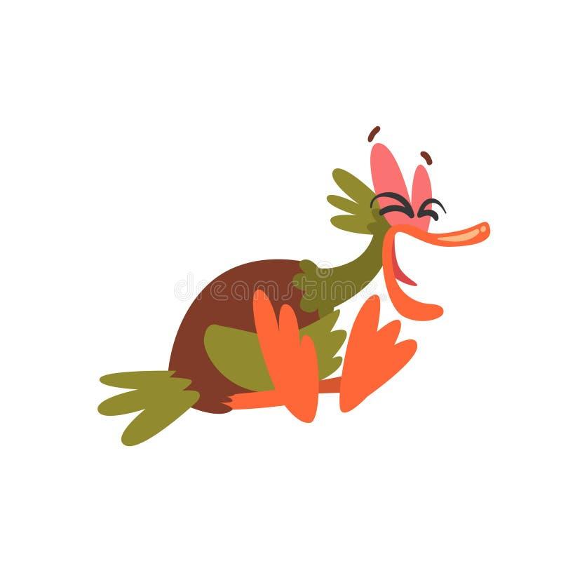 Pato selvagem masculino engraçado Duck Sitting e riso, ilustração cômico do vetor do personagem de banda desenhada do pássaro ilustração do vetor