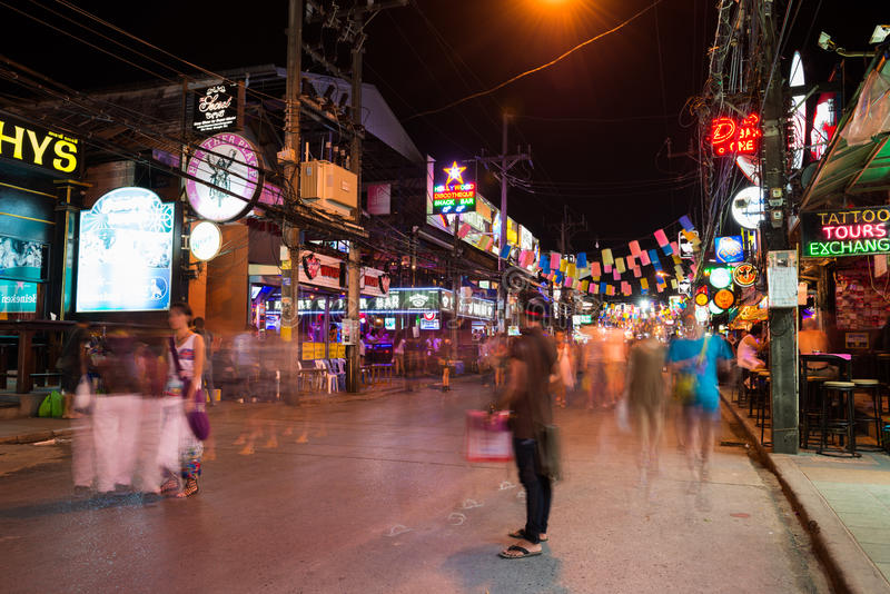 patong bangla road at night phuket thailand editorial. Black Bedroom Furniture Sets. Home Design Ideas
