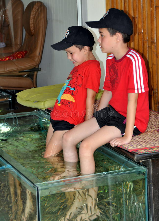 Patong, Thailand: Little Boys Getting Fish Massage. Two young brothers sitting at a spa in Patong, Thailand getting a unique Thai fish massage wherein the fish stock photos