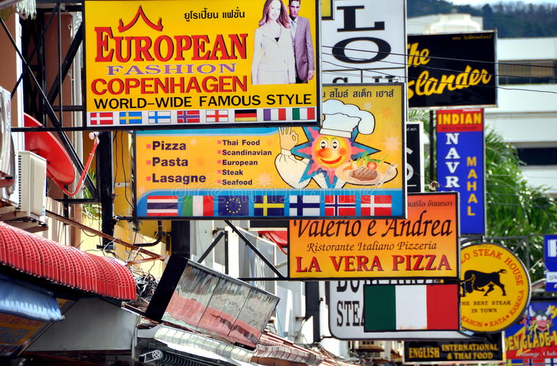 Download Patong, Thailand: Maze Of Restaurant Signs Editorial Image - Image: 23848740