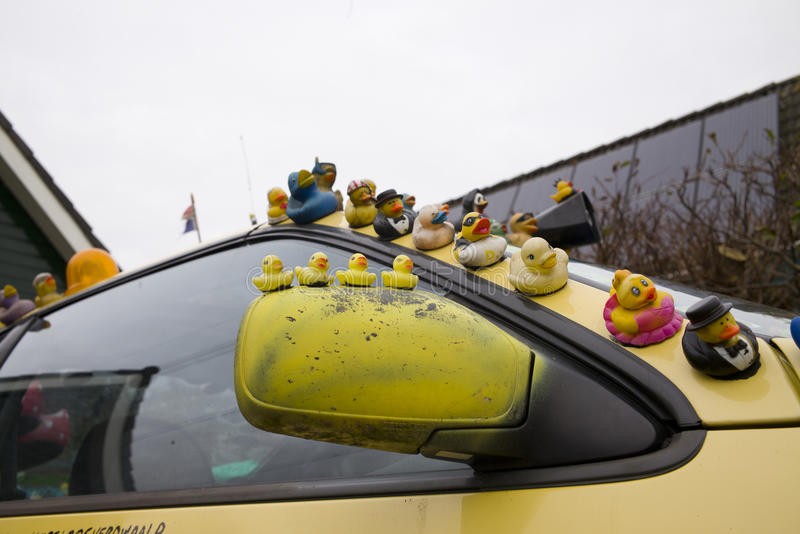 Patos de borracha no carro fotografia de stock