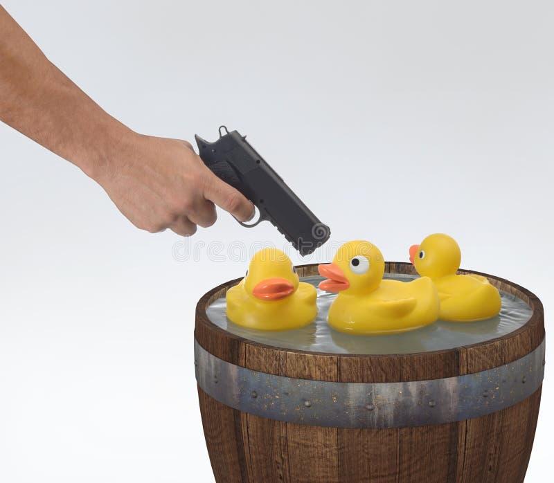 Patos del Shooting en un barril imagenes de archivo