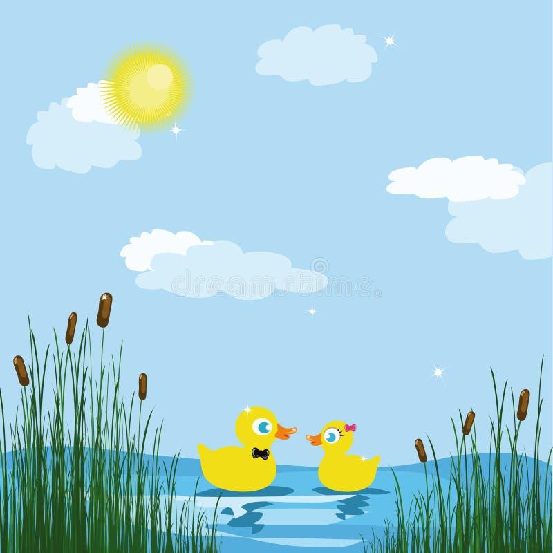 Patos em uma lagoa ilustração royalty free