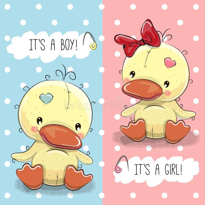 Patos menino e menina ilustração royalty free