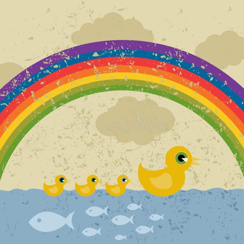 Patos sob um arco-íris ilustração stock