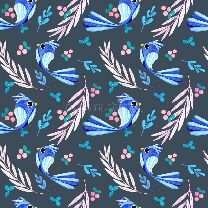 Patrón de acuarela sin inconvenientes, pájaros de otoño, diseño vívido stock de ilustración