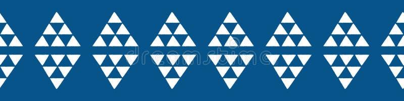 Patrón de borde triangular Vector aztec repite diseño en blanco y azul libre illustration