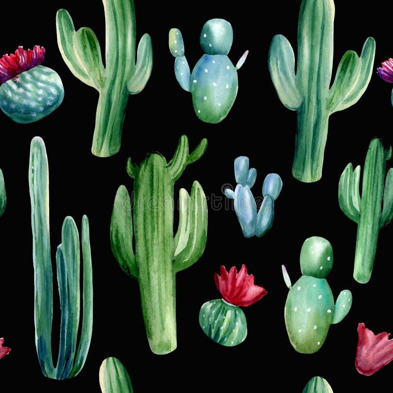 Patrón de color de agua pintado a mano sin fisuras con diferentes cactus sobre fondo negro stock de ilustración
