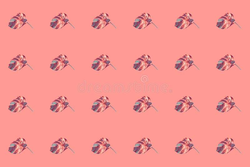 Patrón de filas horizontales de colores en bronce con hojas de monstera azules sobre fondo rosa de moda foto de archivo
