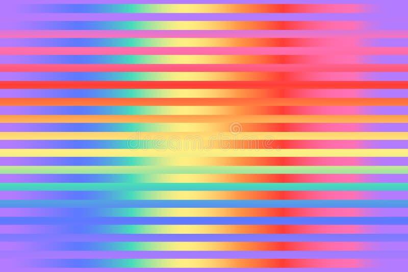 Patrón de gradiente brillante salvaje rayado sin fisuras Fondo de repetición de material vectorial Colores luminosos del arcoiris libre illustration