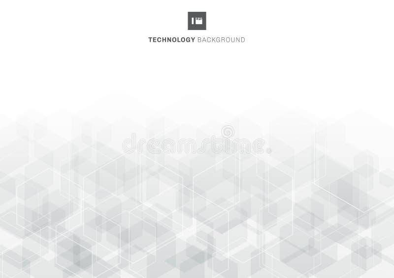Patrón de superposición de hexágonos grises abstractos en el concepto de tecnología de fondo blanco libre illustration