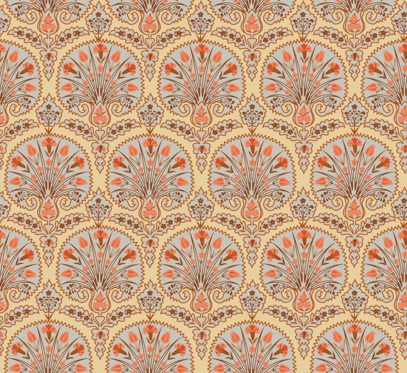 Patrón de tejido sin fisuras florales Floreciente entorno étnico oriental con azulejos Ornamento árabe con fantásticas flores y h fotos de archivo