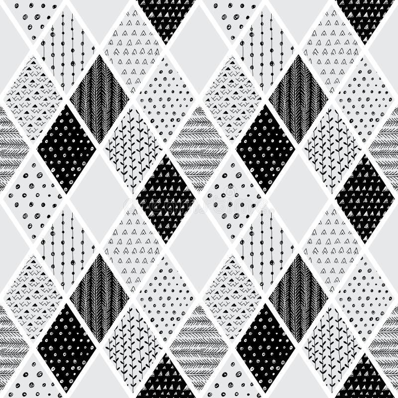 Patrón de tracción sin problemas, fondo geométrico vectorial con elementos florales ilustración del vector