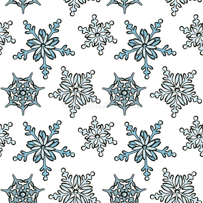 Patrón dibujado a mano por copos de nieve, diseño repetitivo, decoración navideña moderna cubre fondo fotografía de archivo libre de regalías