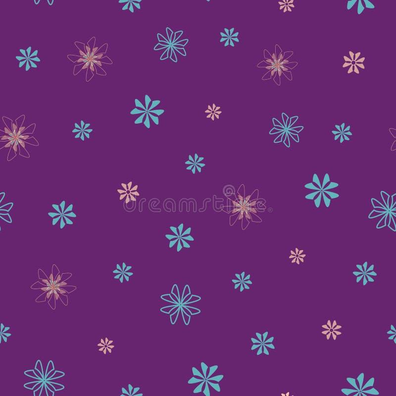 Patrón floral sin fisuras con flores rosas y azules esparcidas al azar sobre fondo morado para el diseño de tela libre illustration