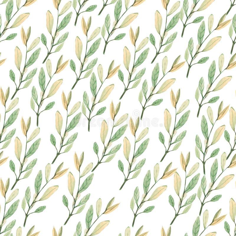Patrón inoxidable con hojas de otoño pintadas a mano de acuarela inspirado en la vegetación y las plantas del jardín. Follaje  libre illustration