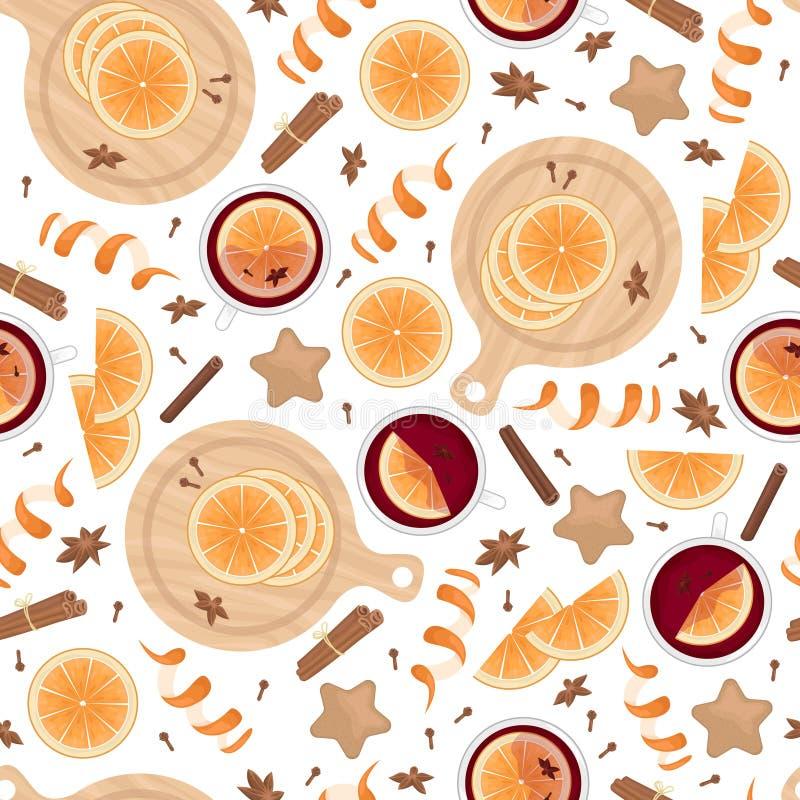 Patrón inoxidable con vino a la parrilla, rodajas anaranjadas, bastones de canela, clavos y cardamomo. Fondo navideño vectorial  libre illustration