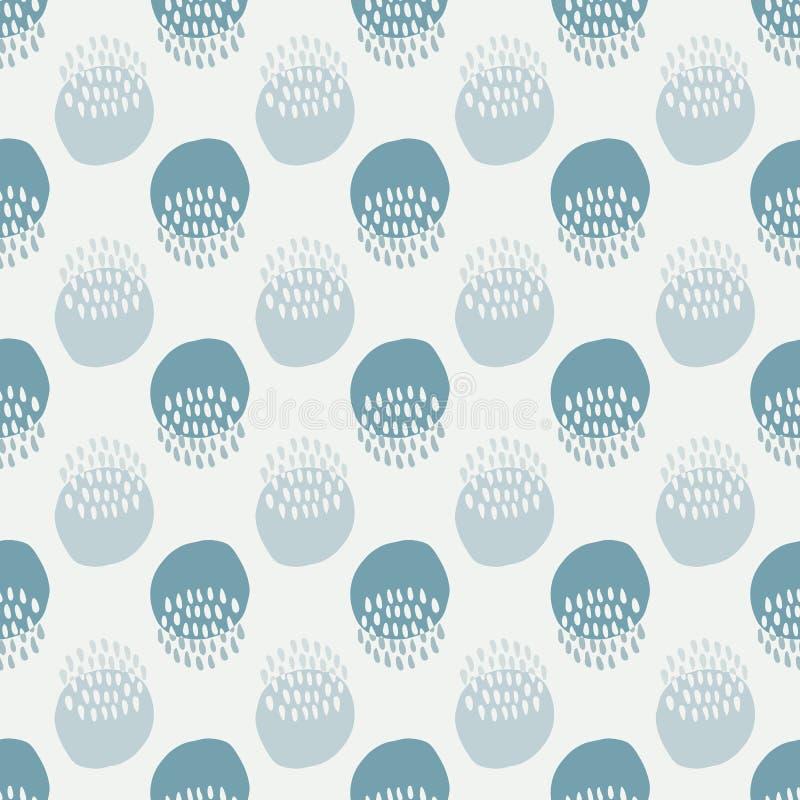 Patrón sin fisuras en estilo doodle. Fondo abstracto colorido con formas de círculo. Ejemplo dibujado mano del vector para ilustración del vector