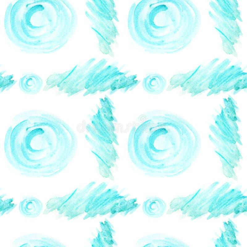 Patrón sin inconvenientes Color de agua abstracto pincel elementos de forma de círculo azul sobre fondo blanco. Cubierta pintada stock de ilustración