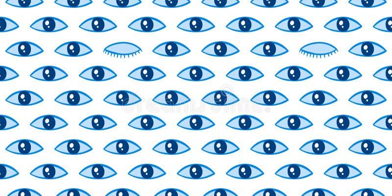 Patrón sin inconvenientes con un patrón mágico en los ojos Icono místico, letra manuscrita Estilo de caricatura, signo esotérico, imagen de archivo libre de regalías