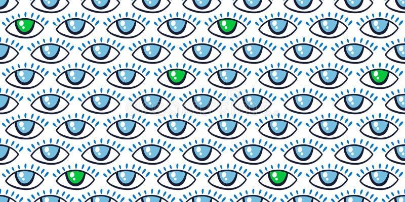 Patrón sin inconvenientes con un patrón mágico en los ojos Icono místico, letra manuscrita Estilo de caricatura, signo esotérico, imágenes de archivo libres de regalías