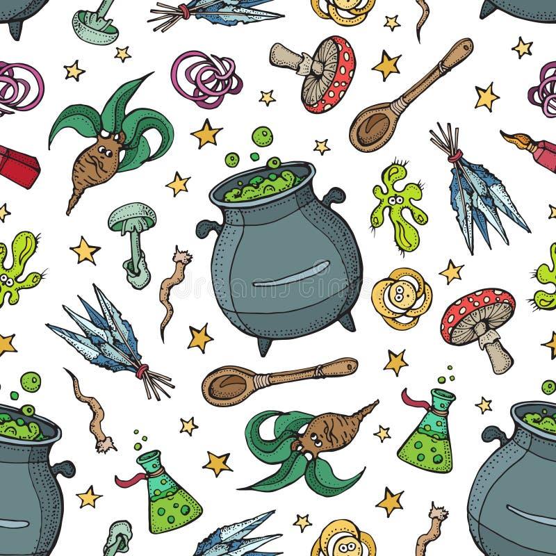 Patrón sin inconvenientes de herramientas de magia y alquimia: mandrato, cristal, raíces, poción, plumas, champiñones, cuchara Ha libre illustration
