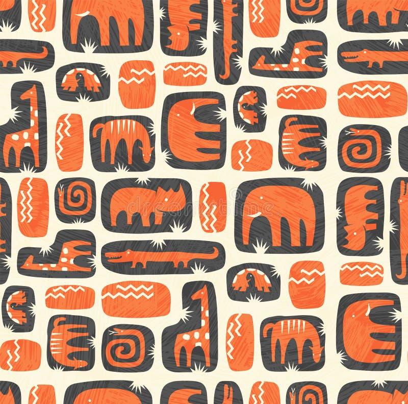 Patrón sin inconvenientes de los lindos animales estilizados de la selva libre illustration