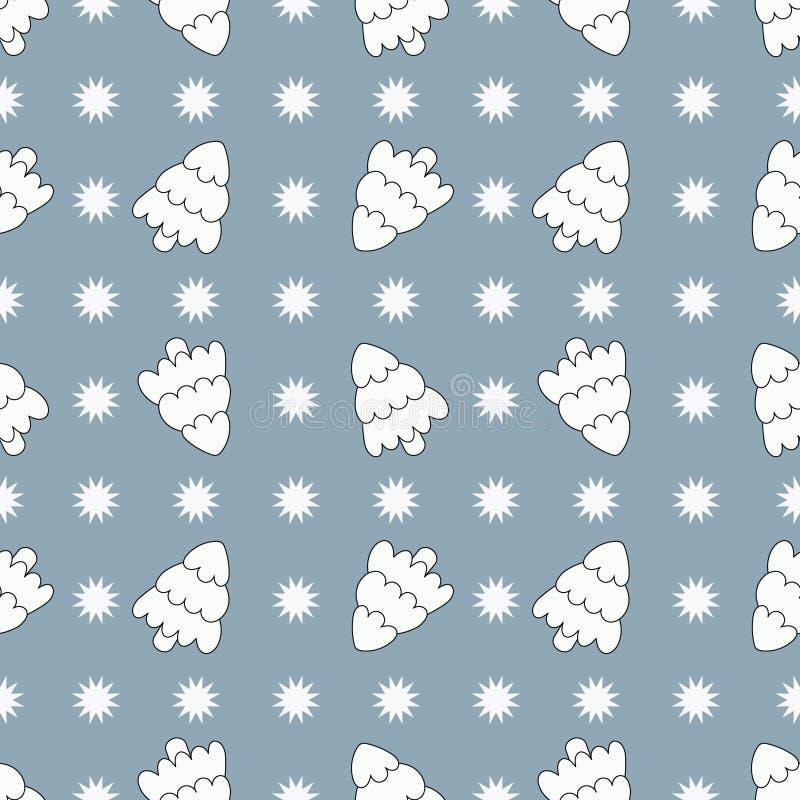Patrón sin problemas con árbol de Navidad sobre fondo azul Vector libre illustration
