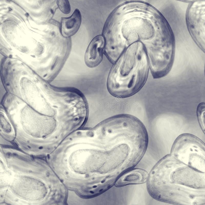 Patrón transparente con microorganismos de una sola célula o microbiomas sobre fondo transparente de color azul gris Fondo con stock de ilustración