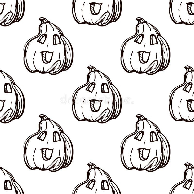 Patrón transparente de Halloween con jack-o-linternas dibujadas a mano stock de ilustración