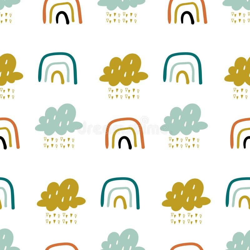 Patrón vectorial de doodle con arcos y nubes. Fondo transparente para el cielo. Textura creativa para niños escandinavos para libre illustration