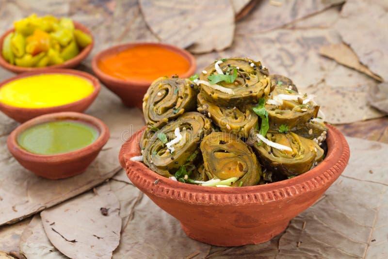 Patra Bhajiya. Indian traditional street food Patra Bhajiya royalty free stock photos
