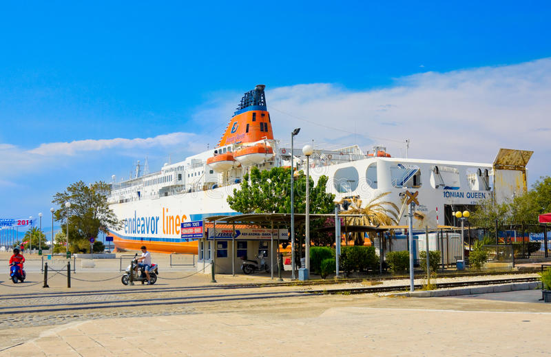 PATRAS, GREECE - JUNE 15, 2014: Ocean liner in port of Patras, Greece. The third largest in Greece. (170 thousand inhabitants and the largest on the largest stock image