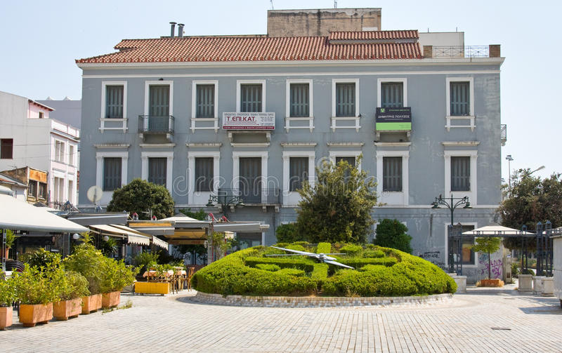 PATRAS, GREECE - JUNE 15, 2014: Street in the center of Patras, Greece. The third largest in Greece (170 thousand inhabitants and stock image