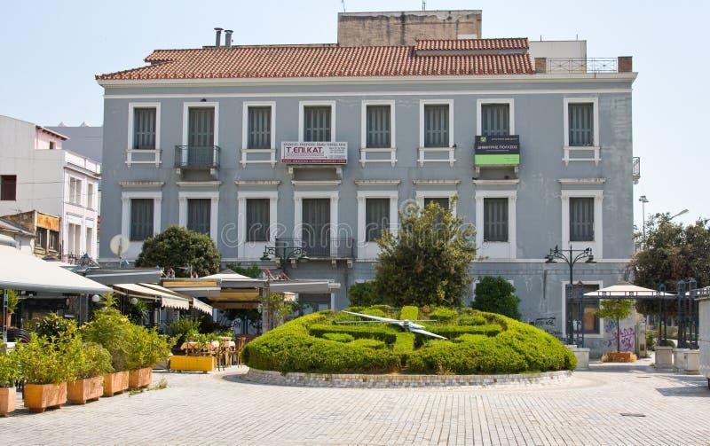 PATRAS, GREECE - JUNE 15, 2014: Street in the center of Patras, Greece. The third largest in Greece (170 thousand inhabitants and. PATRAS, GREECE - JUNE 15, 2014 stock image
