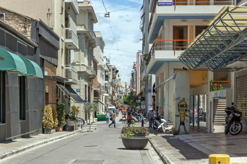 PATRAS, GREECE MAY 28, 2015: Typical street in Patras, Peloponnese, Greece royalty free stock image