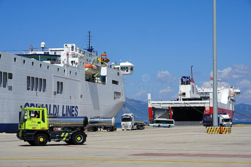 Patras, Greece, 6 September 2018, Daily Docking and unloading of cargo and passenger ferries stock image